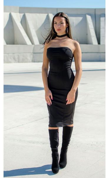 Черна вталена рокля с бюстие_17306