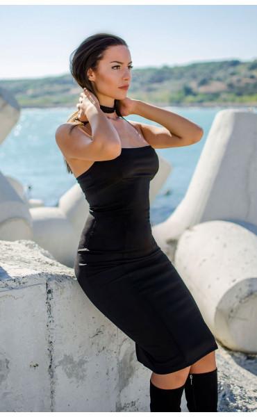 Черна вталена рокля с бюстие_17312