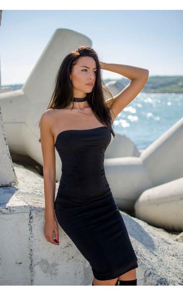 Черна вталена рокля с бюстие_17313