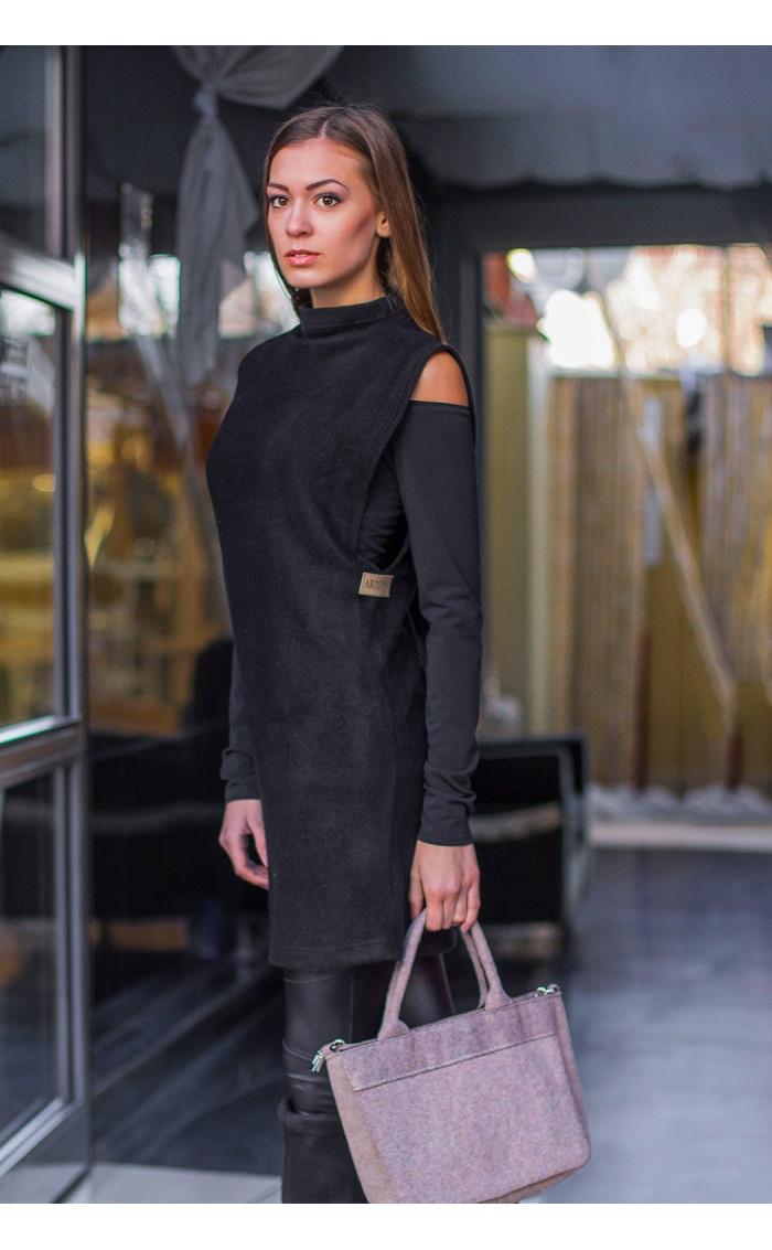 Сет в черно туника от плетиво и блузка Devil