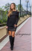 Комплект Карина в черно - туника от плетиво и късa рокля с дантела