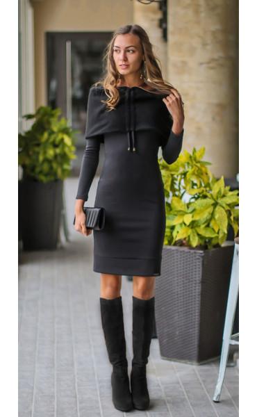 Черна рокля с плетен шал яка - Ана_17321