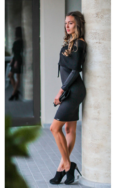 Черна рокля с плетен шал яка - Ана_17322