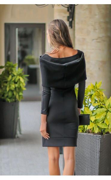 Черна рокля с плетен шал яка - Ана_17323