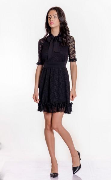 Къса черна дантелена рокля Беки_17378