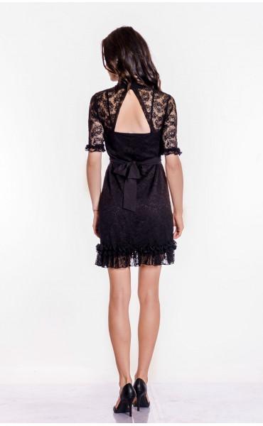 Къса черна дантелена рокля Беки_17379