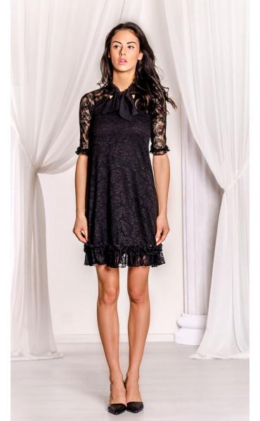 Къса черна дантелена рокля Беки_17380