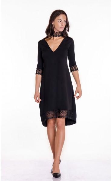 Официална черна рокля с дантела Беатрис_17407