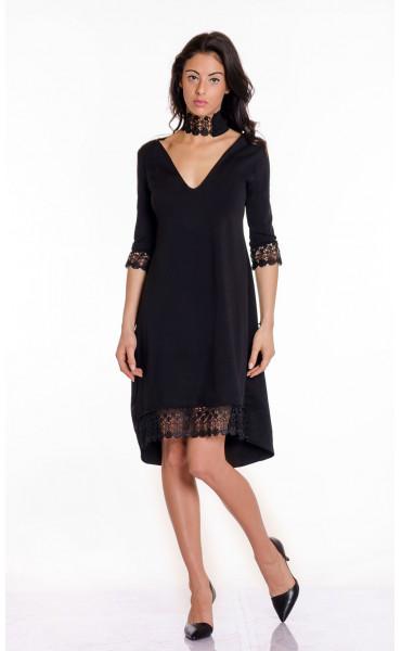 Официална черна рокля с дантела Беатрис