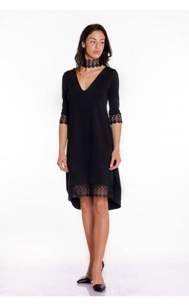 Официална черна рокля с дантела Беатрис_17409
