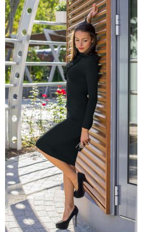 Черна рокля с асиметрично жабо Натали