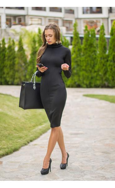 Черна рокля с поло яка Стефания