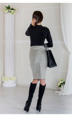 Черна блузка с фина мрежа и къдрица  Black Anabel