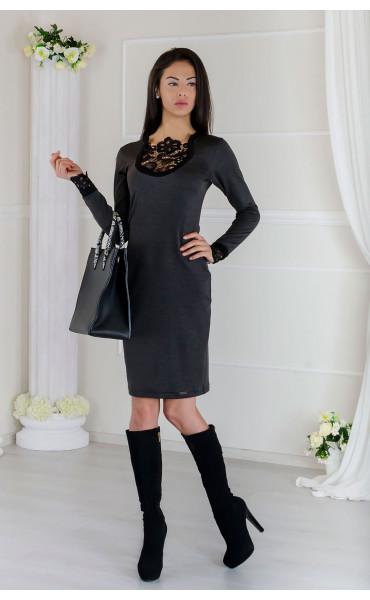 Елегантна делова рокля с дантелени акценти  Betani_17503