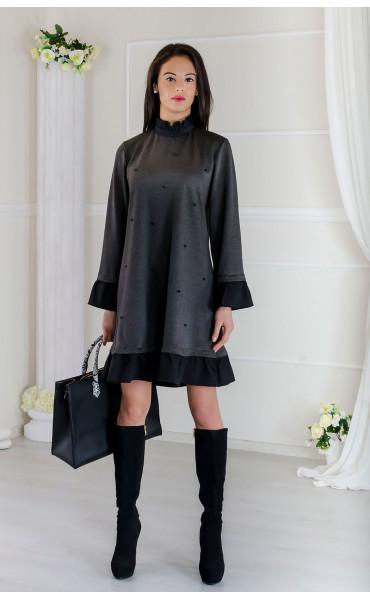 Кокетна сива рокля с черни акценти Стейси _17506