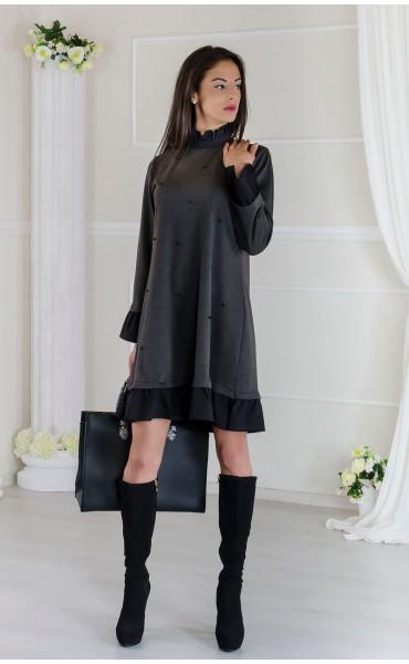 Кокетна сива рокля с черни акценти Стейси _17507