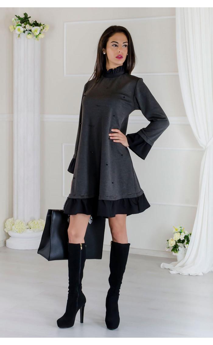 Кокетна сива рокля с черни акценти Стейси