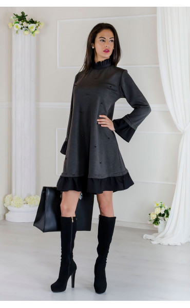 Кокетна сива рокля с черни акценти Стейси _17508