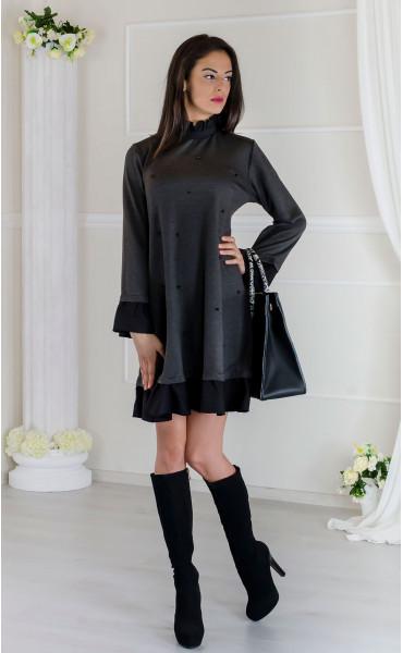 Кокетна сива рокля с черни акценти Стейси _17509