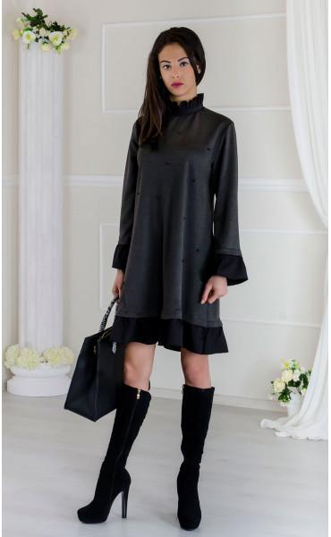 Кокетна сива рокля с черни акценти Стейси _17510