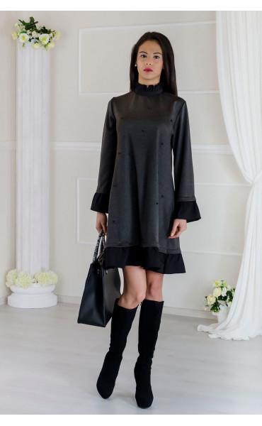 Кокетна сива рокля с черни акценти Стейси _17511