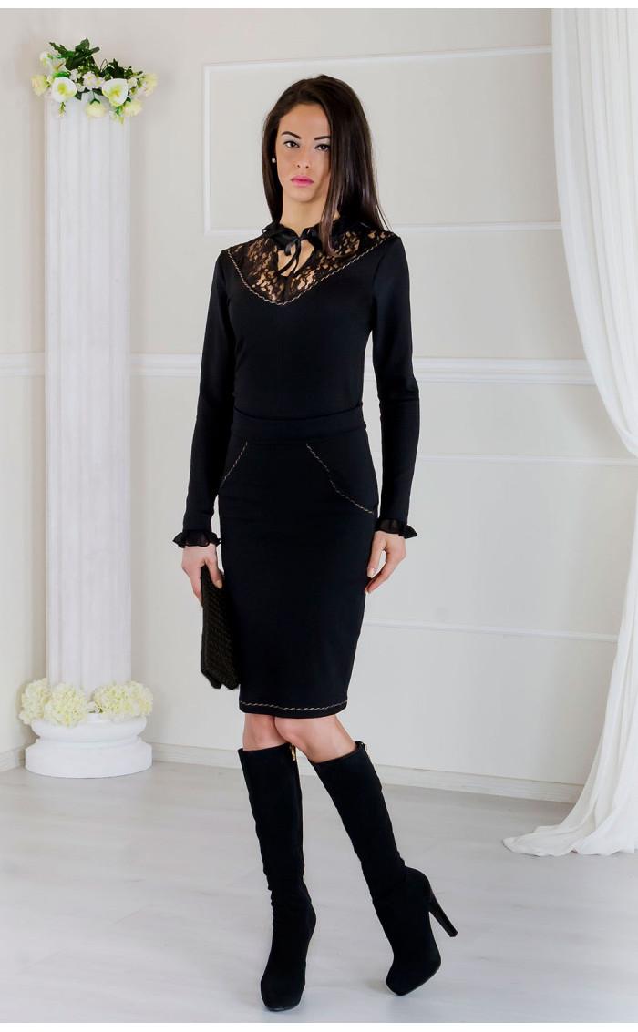 Елегантен комплект пола и блуза в черно Тифани