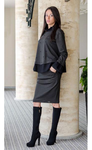 Блуза с къдри и черни перли_17627