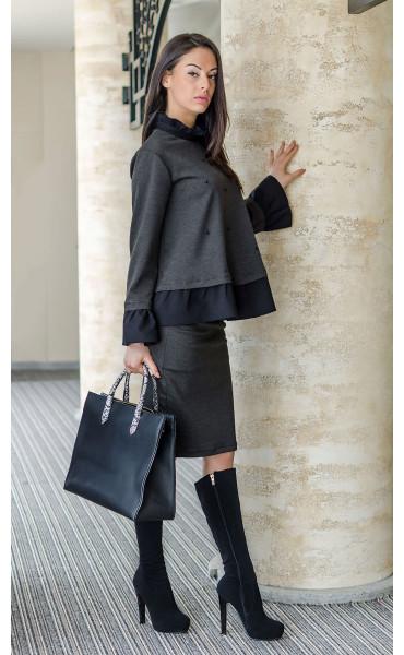 Блуза с къдри и черни перли_17628
