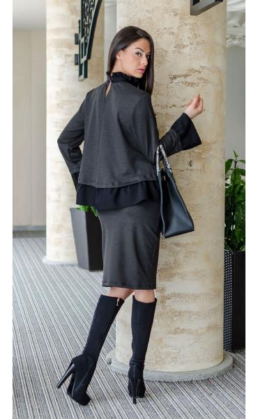 Блуза с къдри и черни перли_17629