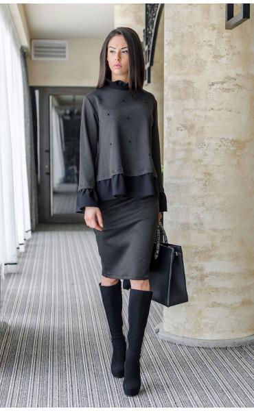 Блуза с къдри и черни перли_17630
