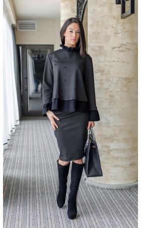 Модерна блуза Ашли с черни перли и черни къдри