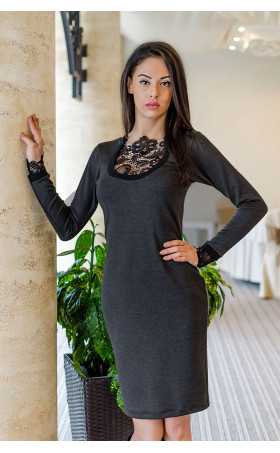 Елегантна рокля с дантелено деколте Betani