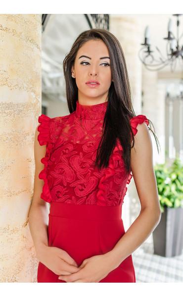 Дантелена официална рокля в огнено червен цвят Катрин_17691