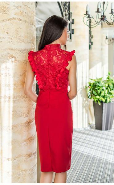 Дантелена официална рокля в огнено червен цвят Катрин_17693