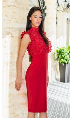 Вечерна дантелена рокля в страстно червен цвят Катрин