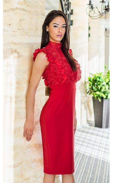 Дантелена официална рокля в огнено червен цвят Катрин_17694