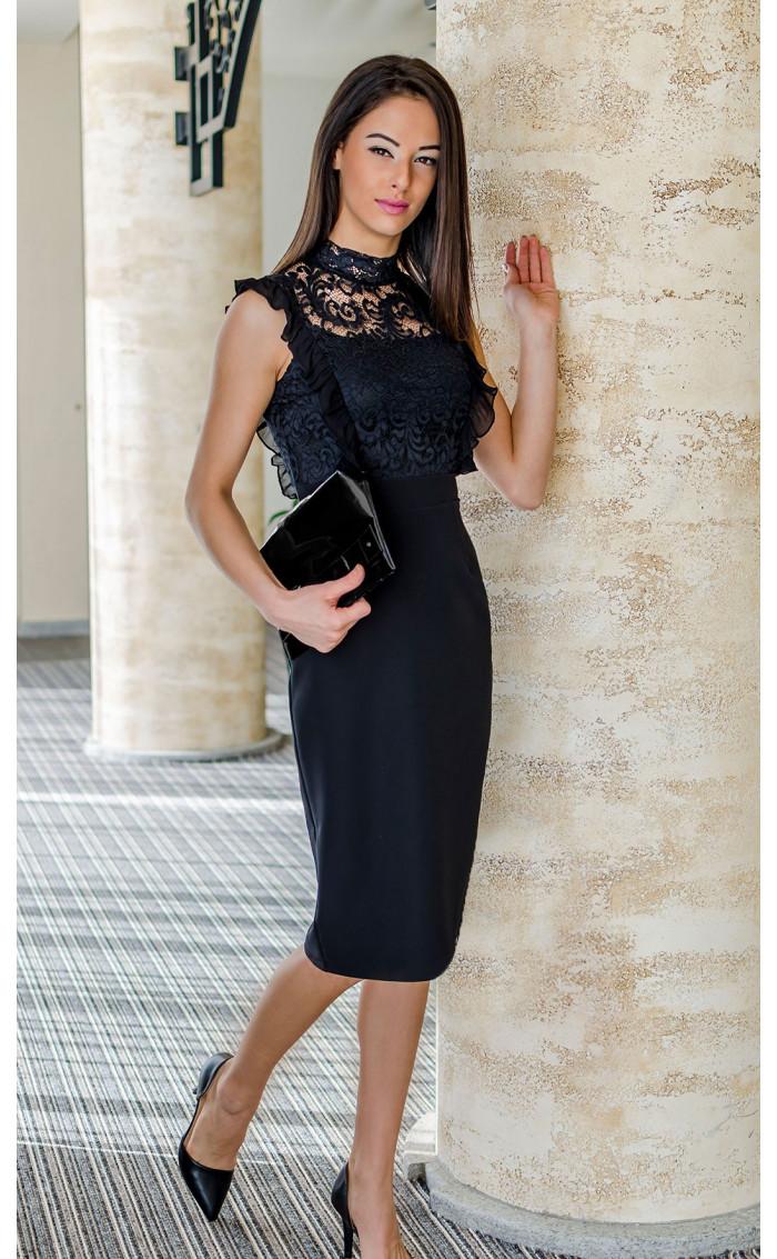 Черна официална вечерна рокля с дантела Катрин