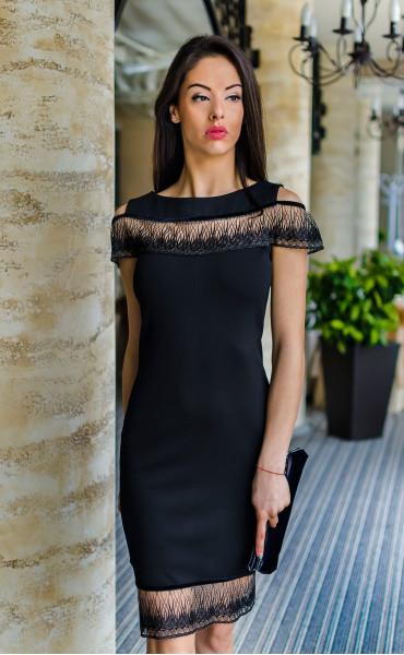 Официална черна рокля Финес_17735