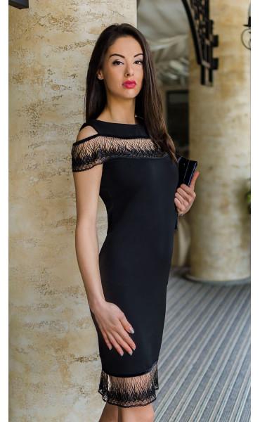 Официална черна рокля Финес_17736