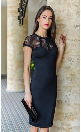 Ефектна черна официална рокля с прозрачен гръб Стела