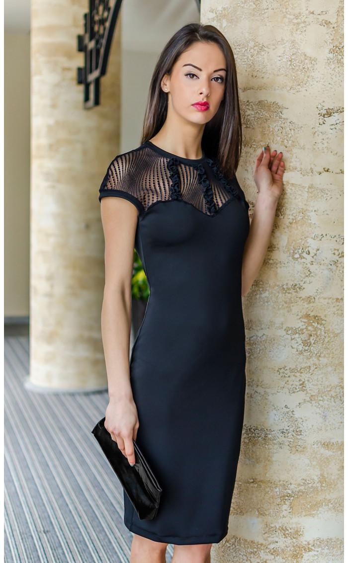Черна официална права дантелена рокля Стела