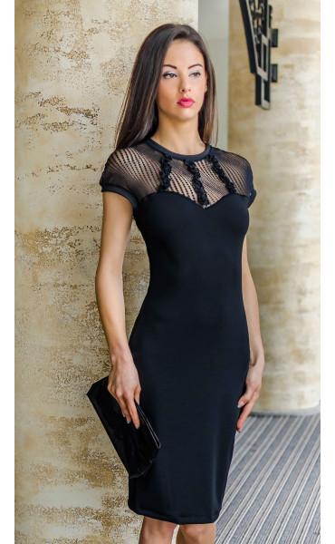 Черна официална права дантелена рокля Стела_17739