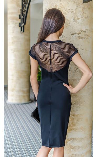 Черна официална права дантелена рокля Стела_17740