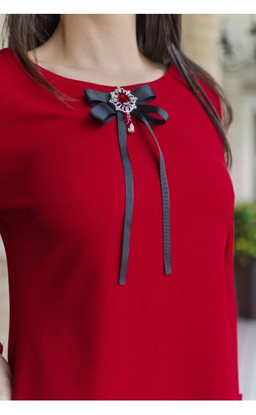 Елегантна делова рокля със стилна брошка Кармен_17798