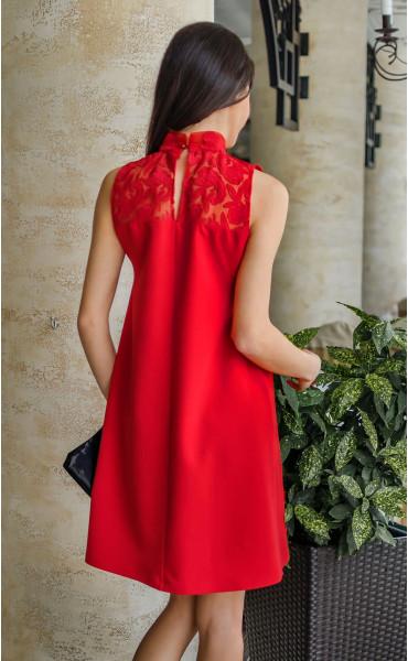 Официална огнено червена рокля с дантела Валенсия._17803