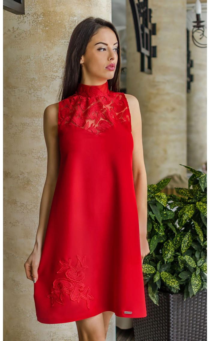Официална огнено червена рокля с дантела Валенсия.