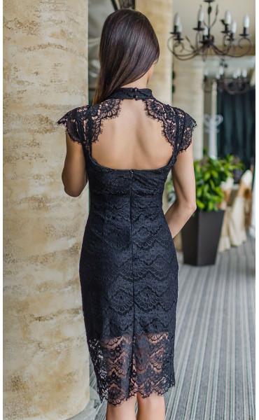 Неотразима черна вечерна дантелена рокля Шарлот_17813