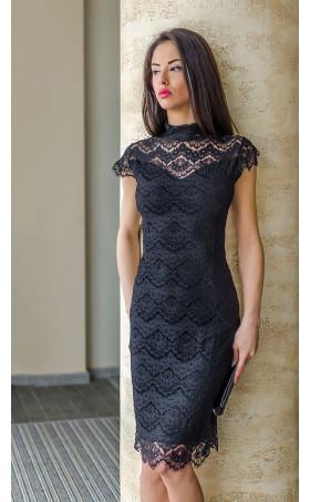 Черна официална дантелена рокля Алегра