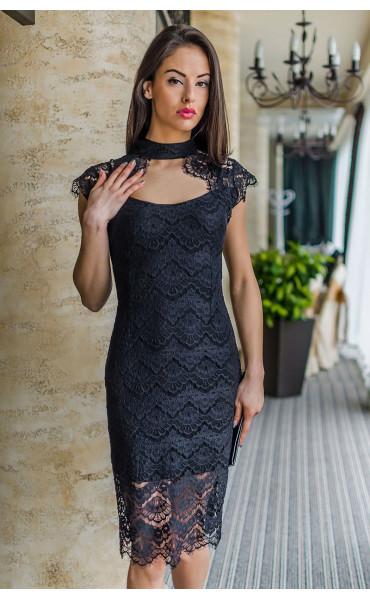 Неотразима черна вечерна дантелена рокля Шарлот_17820