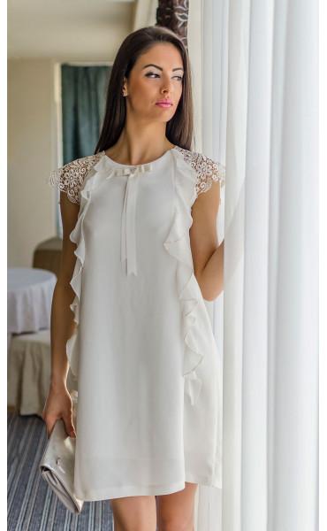 Нежна бяла рокля с къдри Валъри_17850